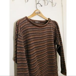 Vintage Muted Rainbow Slouchy Knit Sweater